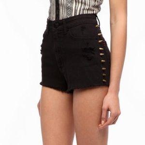 BDG Black Studded High Rise Cheeky Denim Shorts 29